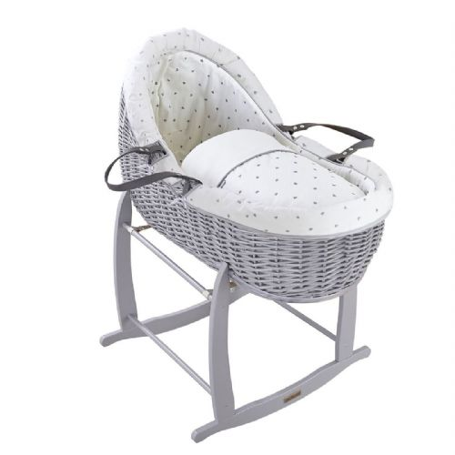 Willow Bassinet  - Grey Lullaby Hearts